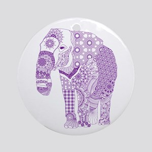 Tangled Purple Elephant Round Ornament