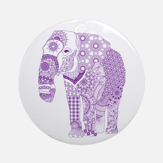 Tangled Purple Elephant Round Ornament