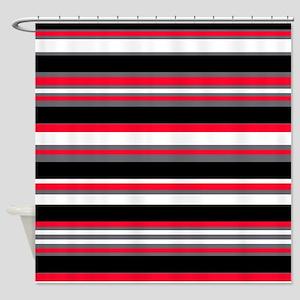 Horizontal Stripes Pattern: Cherry Shower Curtain