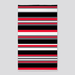 Horizontal Stripes Pattern: Cherry Red Area Rug