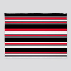 Horizontal Stripes Pattern: Cherry 5'x7'Area Rug