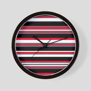 Horizontal Stripes Pattern: Cherry Red Wall Clock