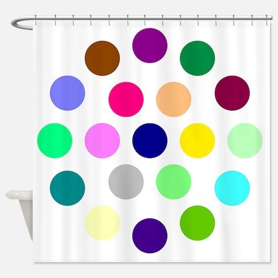Brown, Pink, Green Polka Dot Shower Curtains   CafePress