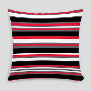 Horizontal Stripes Pattern: Cherry Everyday Pillow