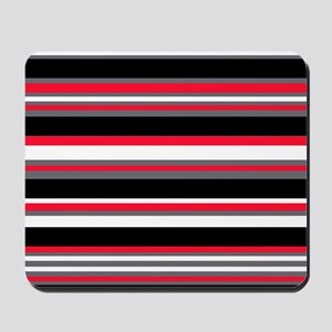 Horizontal Stripes Pattern: Cherry Red Mousepad