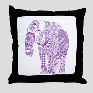Tangled Purple Elephant Throw Pillow