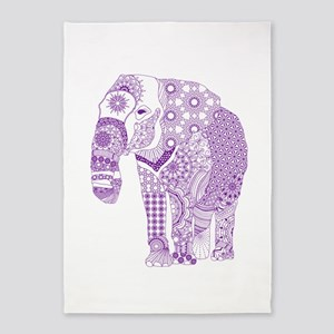 Tangled Purple Elephant 5'x7'Area Rug