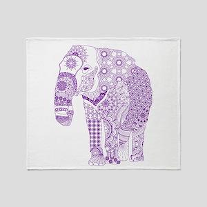 Tangled Purple Elephant Throw Blanket