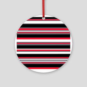 Horizontal Stripes Pattern: Cherry Round Ornament