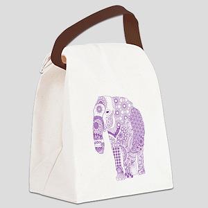 Tangled Purple Elephant Canvas Lunch Bag
