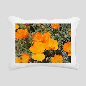 Bright Orange Poppies Rectangular Canvas Pillow