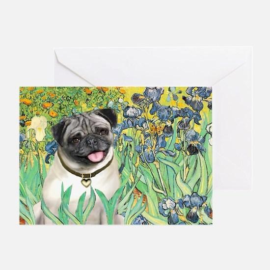 Irises / Pug Greeting Card