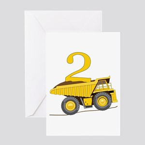 Dump Truck 2nd Birthday Greeting Cards