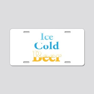 Ice Cold Beer Aluminum License Plate