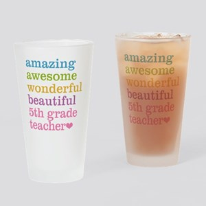 Amazing 5th Grade Teacher Drinking Glass