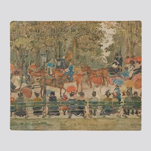 Central Park by Prendergast Throw Blanket