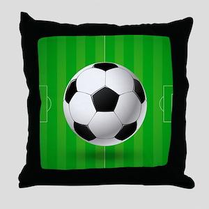 Football Ball And Field Throw Pillow