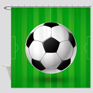 Football Ball And Field Shower Curtain
