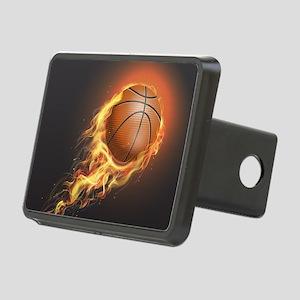 Flaming Basketball Rectangular Hitch Cover