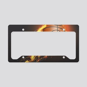 Flaming Basketball License Plate Holder