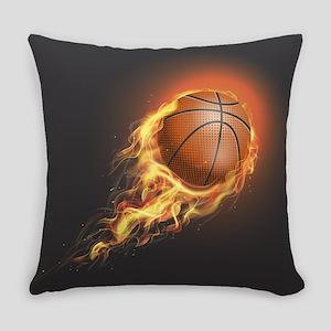 Flaming Basketball Everyday Pillow