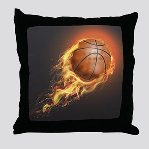Flaming Basketball Throw Pillow