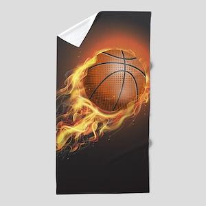 Flaming Basketball Beach Towel