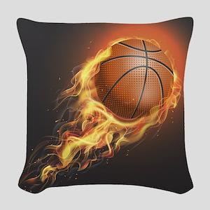 Flaming Basketball Woven Throw Pillow