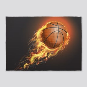 Flaming Basketball 5'x7'Area Rug