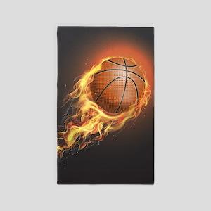 Flaming Basketball Area Rug