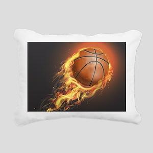 Flaming Basketball Rectangular Canvas Pillow