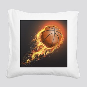 Flaming Basketball Square Canvas Pillow