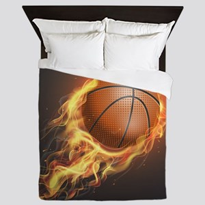 Flaming Basketball Queen Duvet