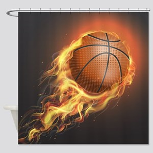 Flaming Basketball Shower Curtain