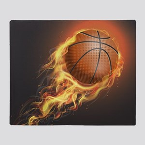 Flaming Basketball Throw Blanket