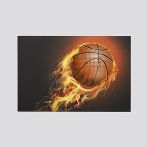 Flaming Basketball Magnets