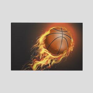 Flaming Basketball Magnets