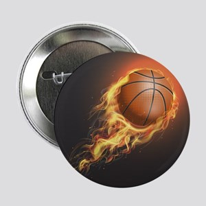 "Flaming Basketball 2.25"" Button (10 pack)"