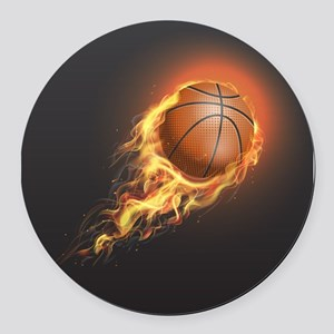 Flaming Basketball Round Car Magnet