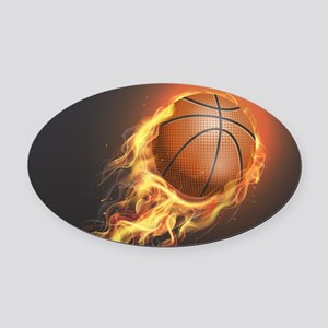 Flaming Basketball Oval Car Magnet