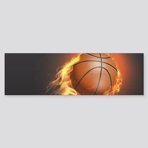Flaming Basketball Bumper Sticker