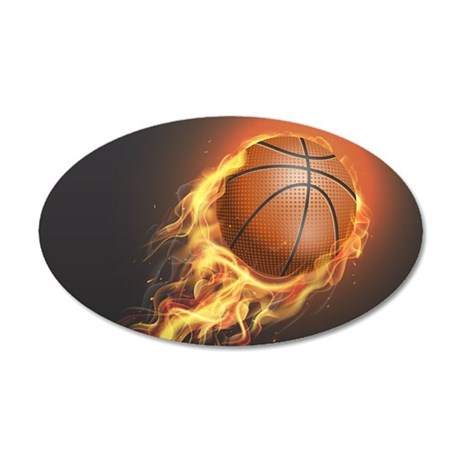 Flaming Basketball Wall Sticker