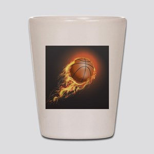Flaming Basketball Shot Glass