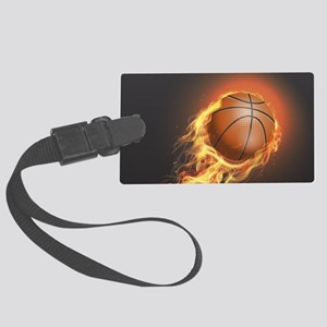 Flaming Basketball Large Luggage Tag