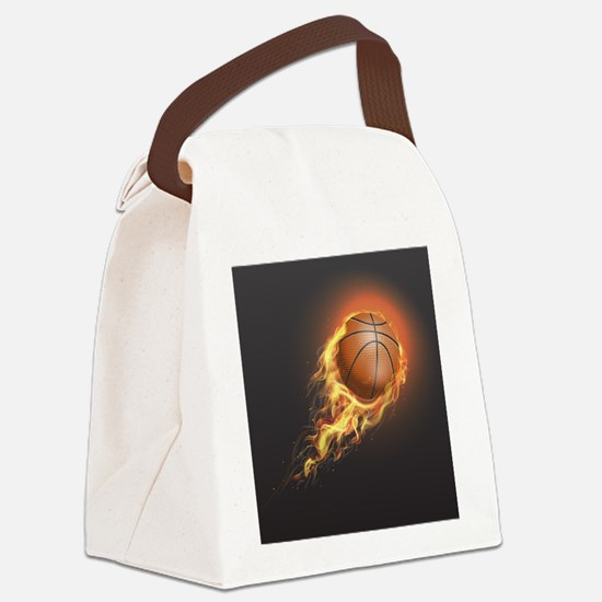 Flaming Basketball Canvas Lunch Bag
