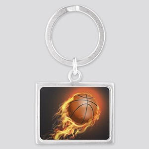 Flaming Basketball Keychains