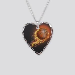 Flaming Basketball Necklace Heart Charm