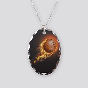 Flaming Basketball Necklace Oval Charm