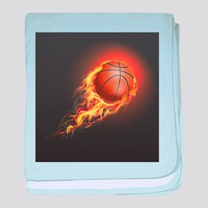 Flaming Basketball baby blanket
