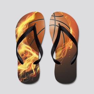 Flaming Basketball Flip Flops